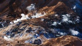 zolfo e sporcizia alla valle dell'inferno di Jigokudani immagini stock