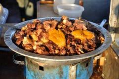 Zolla con l'alimento della carne Fotografia Stock Libera da Diritti