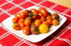 Zolla dei pomodori mixed freschi sul panno rosso Immagini Stock