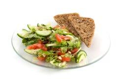 Zolla di insalata con pane Fotografie Stock