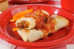 Zolla di picnic dei burritos immagine stock