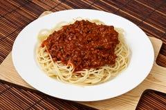 Zolla di spaghetti Bolognese Immagini Stock Libere da Diritti