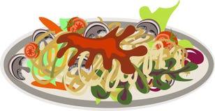 Zolla di spaghetti con i funghi Immagine Stock Libera da Diritti