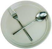 Zolla, forchetta e cucchiaio vuoti Fotografia Stock