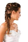 Zolla nuziale del hairdo isolata su bianco Fotografia Stock