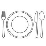 Zolla vuota con il cucchiaio, la lama e la forchetta Fotografia Stock