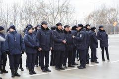 Zollbeamten an der Einweihung neuer ukrainischer Grenze Palanca Moldovans stockfotos