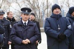 Zollbeamten an der Einweihung neuer ukrainischer Grenze Palanca Moldovans stockbild