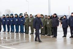 Zollbeamten an der Einweihung neuer ukrainischer Grenze Palanca Moldovans stockbilder