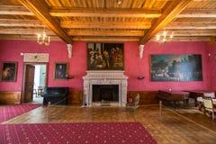 Zolochiv,乌克兰- 2017年5月02日:Zolochiv宫殿城堡在利沃夫州地区,乌克兰美好的内部  库存照片