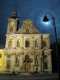Zolochiv ` s波兰人教会夜快照  库存图片