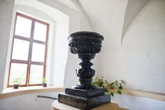 Zolochiv, Ukraine - July 24, 2018: Big black vase or goblet some. Where in museum or exhibition royalty free stock images