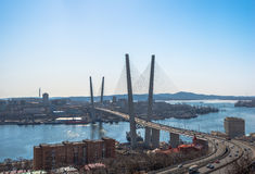 Zolotoy Bridge in Vladivostok. Royalty Free Stock Photos