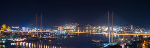 Zolotoy Bridge in Vladivostok. Royalty Free Stock Images