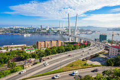 Zolotoy Golden Bridge, Vladivostok. The Zolotoy Golden Bridge is cable-stayed bridge across the Zolotoy Rog (Golden Horn) in Vladivostok, Russia Stock Images