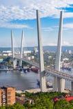 Zolotoy Golden Bridge, Vladivostok. The Zolotoy Golden Bridge is cable-stayed bridge across the Zolotoy Rog Golden Horn in Vladivostok, Russia Royalty Free Stock Images