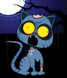 Zom Cat in the Night. An illustration of a zombie kitten against a spooky night sky vector illustration