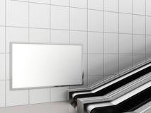 Zombaria acima da exposição dos anúncios do molde dos meios do cartaz na escada rolante da estação de metro rendição 3d Imagem de Stock Royalty Free