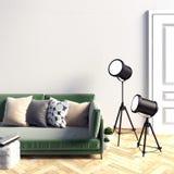 Zombaria acima da parede no interior com sofá Sala de visitas Banco de pedra de encontro à parede de pedra Imagens de Stock Royalty Free