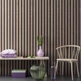 A zombaria acima do quadro do cartaz no fundo interior do moderno nas cores cor-de-rosa e nos painéis de madeira, 3D rende, a ilu Imagem de Stock Royalty Free