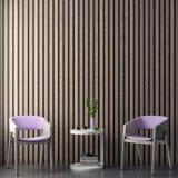 A zombaria acima do quadro do cartaz no fundo interior do moderno nas cores cor-de-rosa e nos painéis de madeira, 3D rende, a ilu Fotografia de Stock