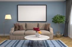 Zombaria acima do quadro do cartaz no fundo interior ilustração 3D ilustração stock