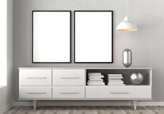 Zombaria acima do quadro no fundo do interior do moderno 3D que ilustra Imagem de Stock