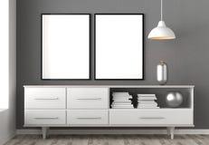 Zombaria acima do quadro no fundo do interior do moderno 3D que ilustra Fotos de Stock