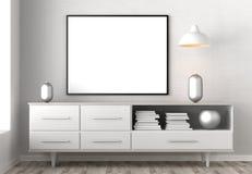 Zombaria acima do quadro no fundo do interior do moderno 3D que ilustra Fotografia de Stock Royalty Free