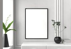 Zombaria acima do quadro no fundo do interior do moderno 3D que ilustra Imagens de Stock Royalty Free
