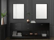Zombaria acima do quadro no fundo do interior do moderno 3D que ilustra Fotografia de Stock