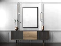 Zombaria acima do quadro no fundo do interior do moderno 3D que ilustra Foto de Stock Royalty Free