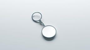 Zombaria branca redonda da porta-chaves do metal vazio acima da vista isométrica Fotos de Stock