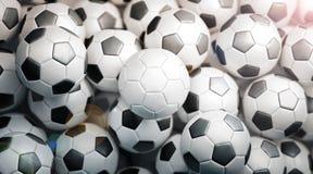 Zombaria branca vazia da pilha da bola de futebol acima, vista superior Fotografia de Stock