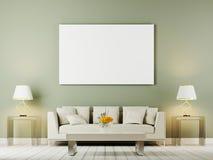 Zombaria da parede interior da sala de visitas acima com sofá, os descansos e as lâmpadas brancos no fundo do oliwe ilustração royalty free