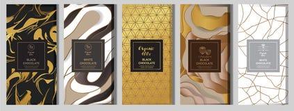 Zombaria de empacotamento da barra de chocolate configurada elementos, etiquetas, ícone, quadros ilustração do vetor