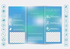 Zombaria dobrável em três partes do folheto acima do projeto do vetor Fundo unfocused liso do bokeh Fotografia de Stock Royalty Free