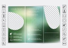 Zombaria dobrável em três partes do folheto acima do projeto do vetor Fundo unfocused liso do bokeh Foto de Stock Royalty Free