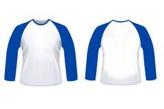 Zombaria longa da camisa do sleve do raglan branco azul vazio acima do templat imagens de stock royalty free