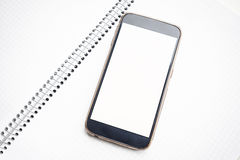 Zombaria moderna do smartphone acima com tela vazia Fotografia de Stock