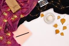 Zombaria romântica do outono acima Folha do papel cor-de-rosa, folhas amarelas e alaranjadas, lápis, copo do cappuccino e câmera  Imagens de Stock