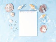 Zombe acima com quadro da concha do mar, bloco de notas no contexto da pedra azul, espaço da cópia Conceito do verão do feriado p Imagens de Stock Royalty Free