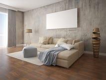 Zombe acima da sala de visitas acolhedor moderna com o sofá de canto bege Fotografia de Stock Royalty Free