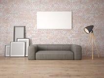 Zombe acima da sala de visitas com um grande sofá de couro Imagens de Stock Royalty Free