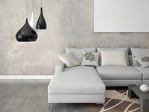 Zombe acima da sala de visitas com um sofá à moda cinzento Imagem de Stock
