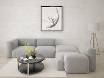 Zombe acima da sala de visitas com um sofá de canto confortável Fotografia de Stock