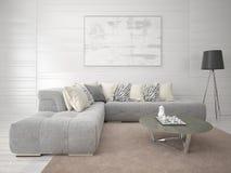 Zombe acima da sala de visitas com um sofá confortável elegante Fotografia de Stock Royalty Free