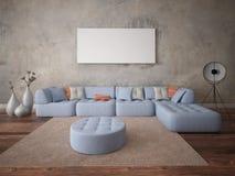 Zombe acima da sala de visitas com um sofá de canto confortável Fotos de Stock