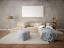 Zombe acima de uma sala de visitas à moda com um sofá bege leve Imagem de Stock Royalty Free