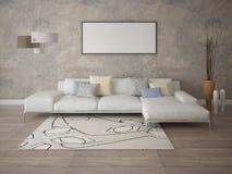 Zombe acima de uma sala de visitas à moda com um sofá de canto Fotografia de Stock